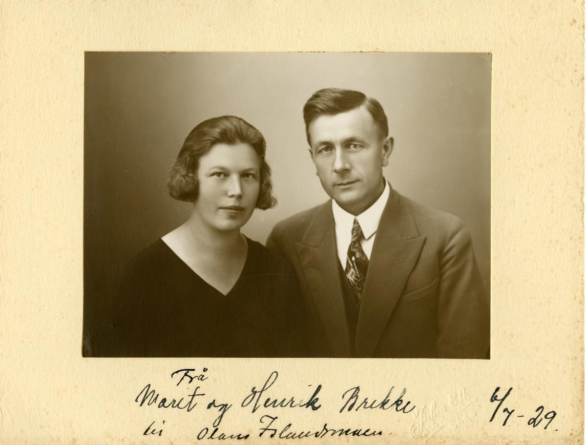 Portrett av Marit og Henrik Brekke. Tatt 06.07.1929.
