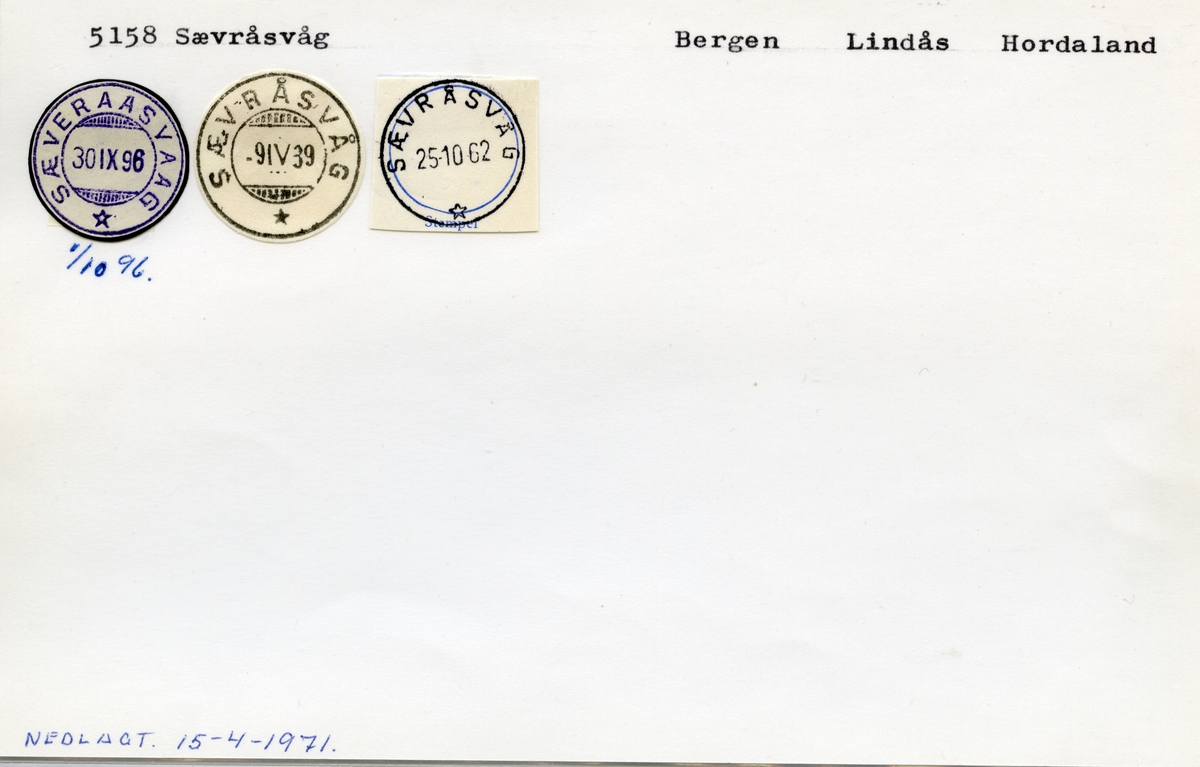 Stempelkatalog  5158 Sævråsvåg, Lindås kommune, Hordaland