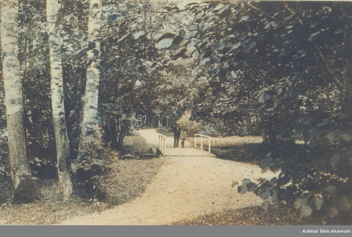 Vykort med motiv från Badhusparken i Nybro.
