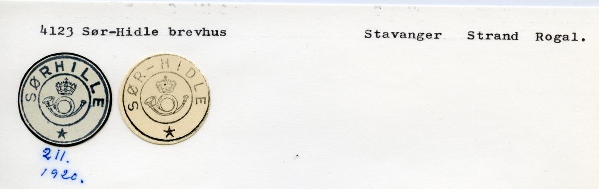 Stempelkatalog  4123 Sør-Hidle, Strand kommune, Rogaland