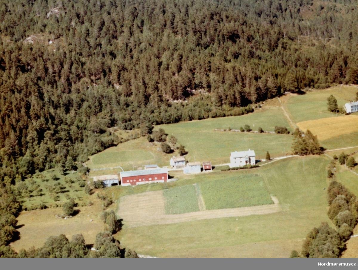 Flyfoto fra gården til Erling L. Meisingset, Rotås på Meisingset. Bildet er datert 30. juli 1963, og fotograf er Widerøe's Flyveselskap a/s. Fra Nordmøre Museums fotosamlinger.