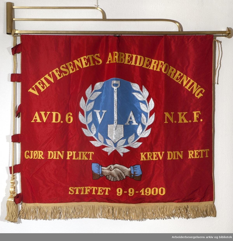 Veivesenets arbeiderforening..Forside..Fanetekst:.Veivesenets Arbeiderforening, avd. 6.N.K.F..Gjør din plikt.Krev din rett.Stiftet 9.9. 1900