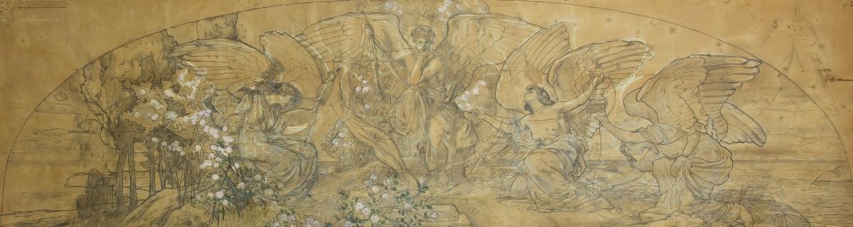 Blyertsteckning med Eros i centrum med hakan stödd i ena handen och pilbåge i den andra. Till vänster en ödesgudinna med linfäste, till höger två ödesgudinnor, varav en klipper av en tråd med en fårsax. De är ommgivna av blommor i grönt och vitt.