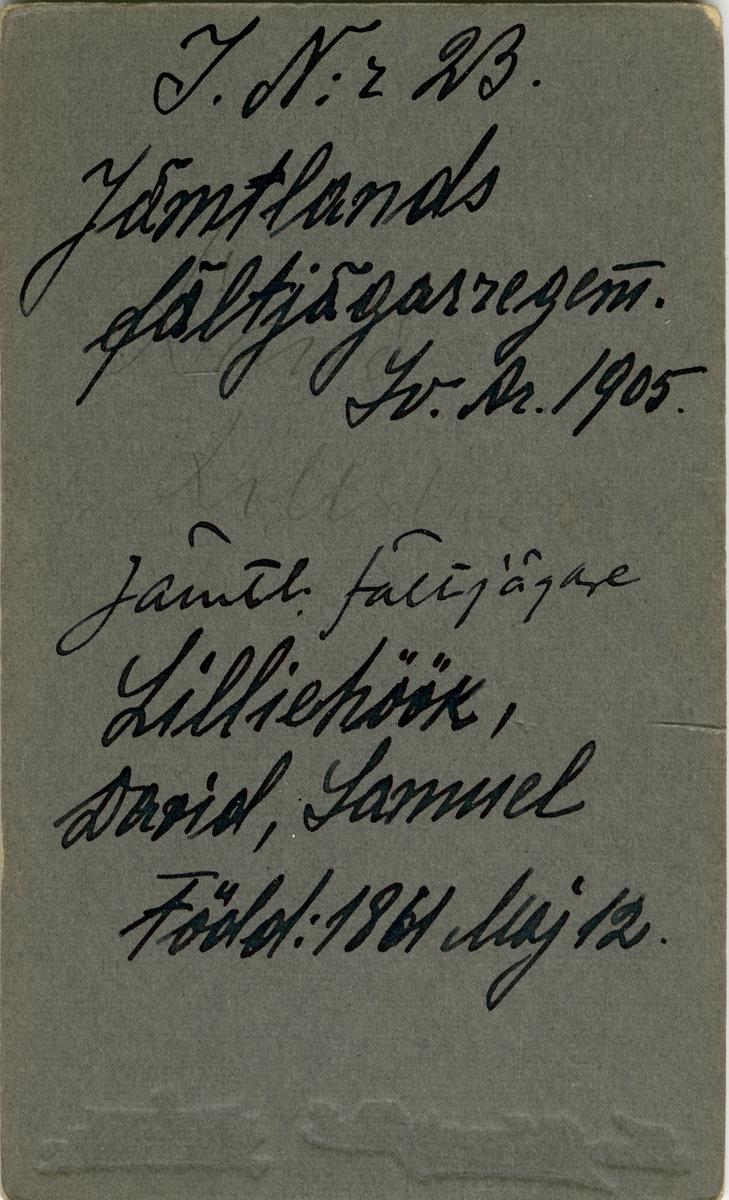 Porträtt av David Samuel Lilliehöök, kapten vid Jämtlands fältjägarregemente I 23.