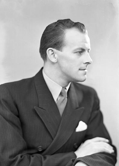 2fca876b2f98 Foto av en man i mörk kostym och slips. Bröstbild, profil. Ateljéfoto.