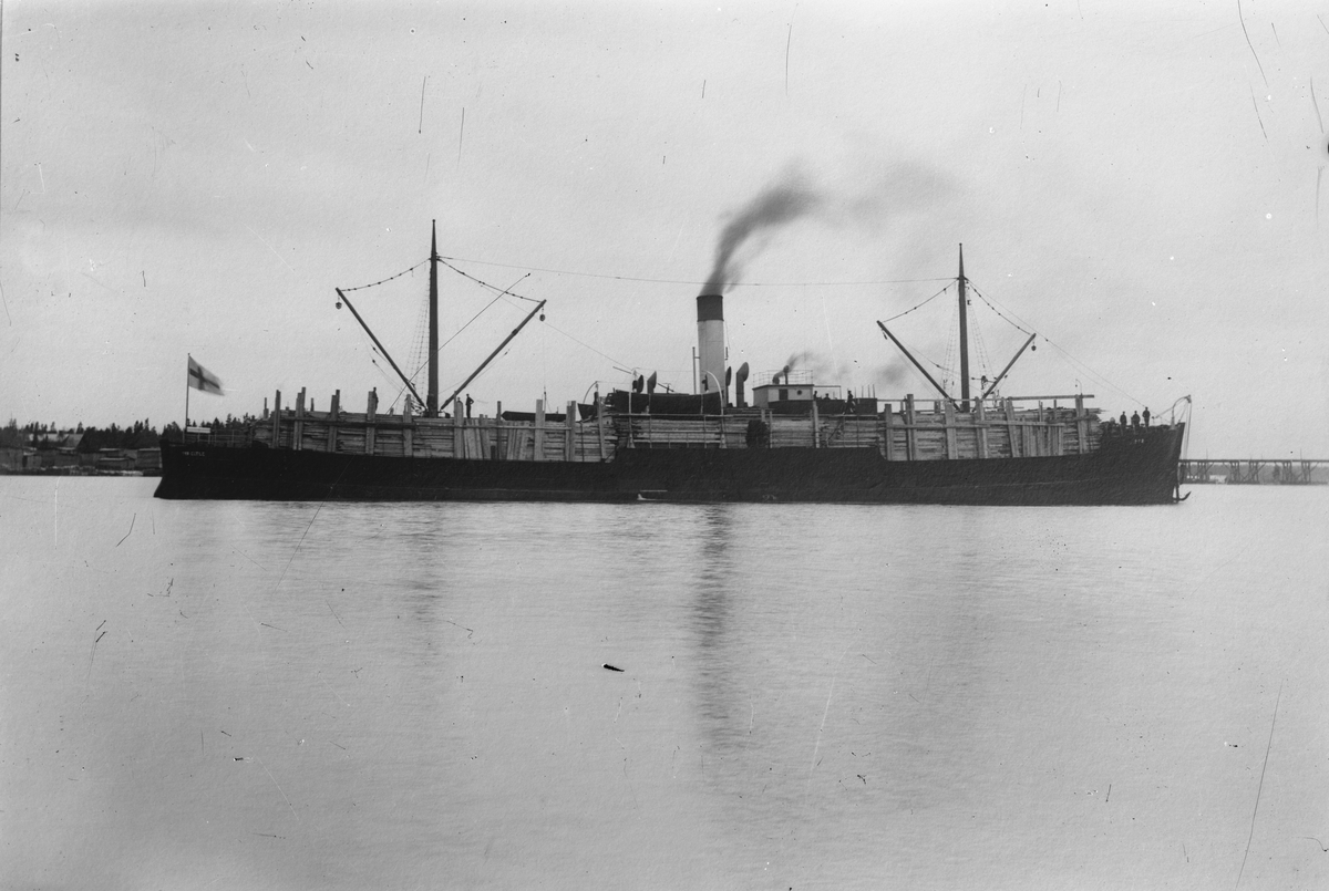 Ångfraktbåt lastad med sågvirke på redden.