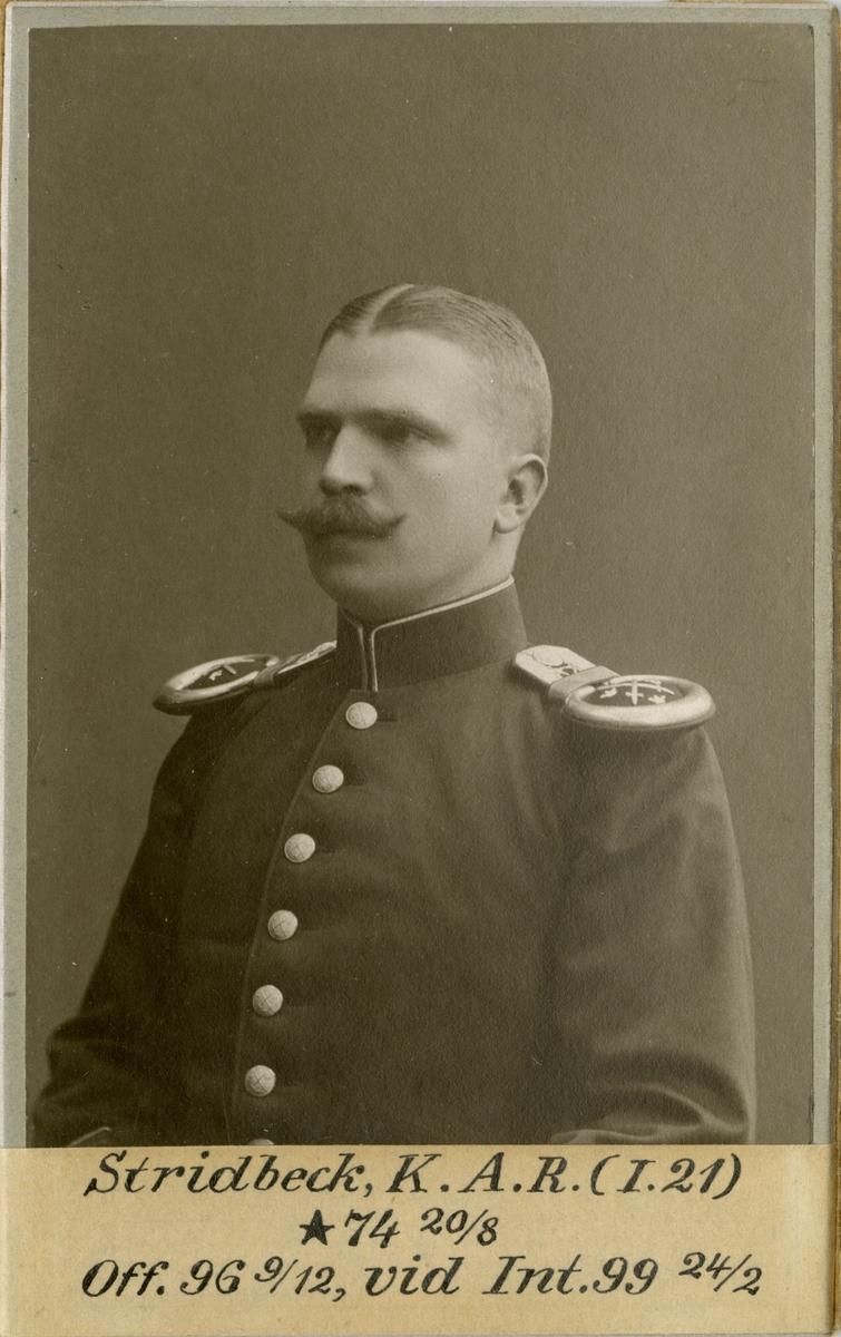 Porträtt av Knut Axel Reinhold Stridbeck, officer vid Kalmar regemente I 21 och Intendenturkåren.