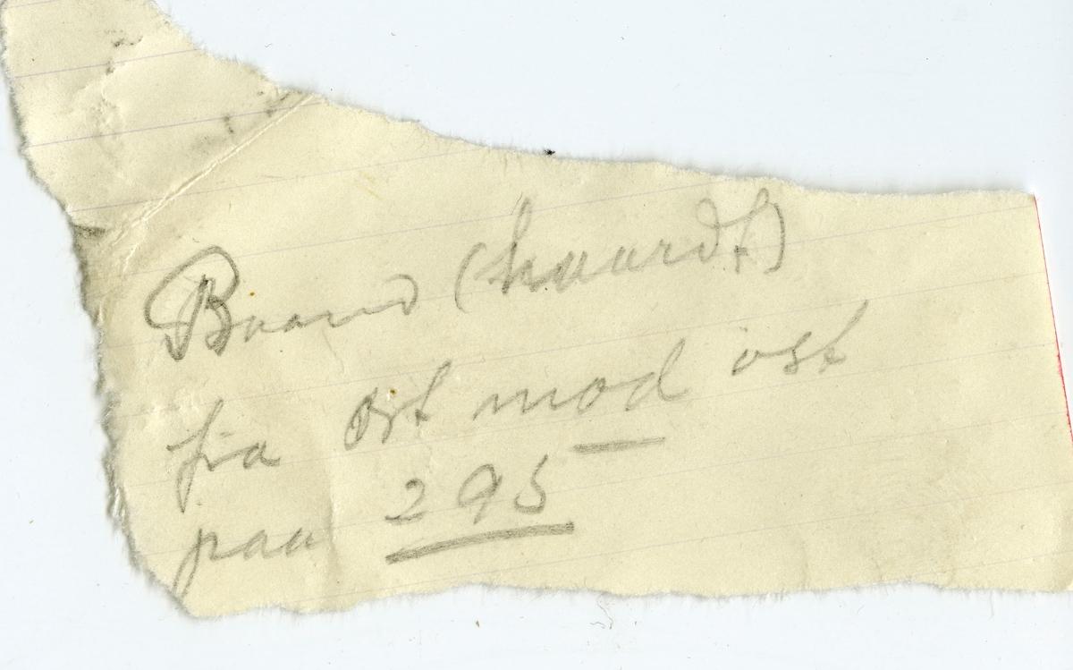 Etikett i eske:  Gneis «det haarde baand» ort mod øst, 295 m. dyb i Samuels grube. Kongsberg. Mimi Johnson marts 1912.  + papirlapp