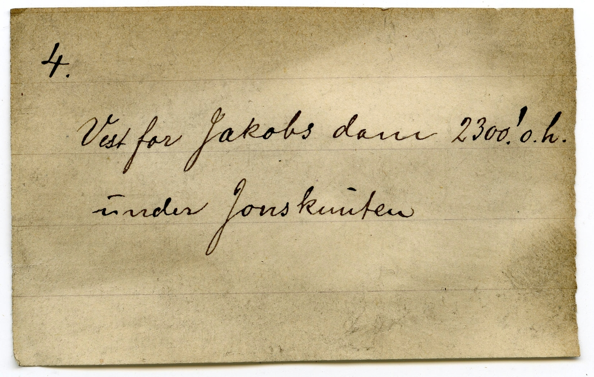 Etikett falt av prøve: 4.  Etikett i eske: 4. Vest for Jakobs dam 2300' o.h. under Jonsknuten