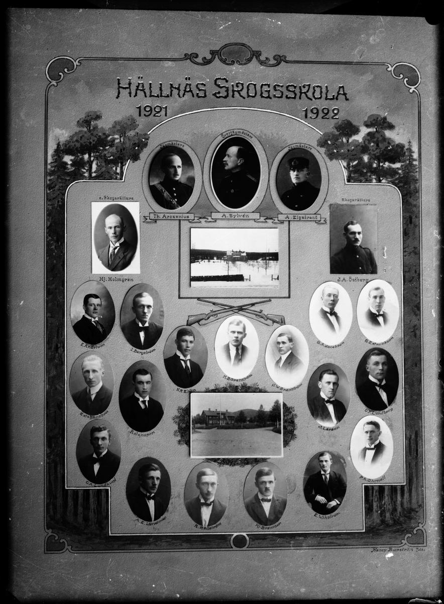 Hällnäs Skogsskola 1921 - 1922. Överstejägmästare: A. Sylvén Jägmästare: Th. Arosenius; A. Elgstrand. Skogsrättare: Hj. Holmgren; J. A Östberg. E. Andersson, R. Jansson, N. R Ehlin, G. A Jacobsson, O. F Lundberg, Hj. Svensson, E. Johansson, C. Lundkvist, K. B Granström, G. E Jacobsson, P.A Öhrnell. I. Bergström, A. E Lundman, J. W Granström, J. Larsson, R. Rådström, E. Wikström