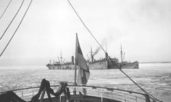 Tyska transportfartyg, fotograferade från svenskt fartyg vid