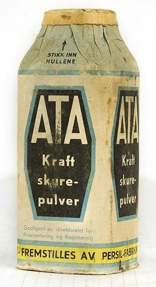 Pappemballasje med skurepulver. Persilfabrikken, Ata kraft. Flaskeform