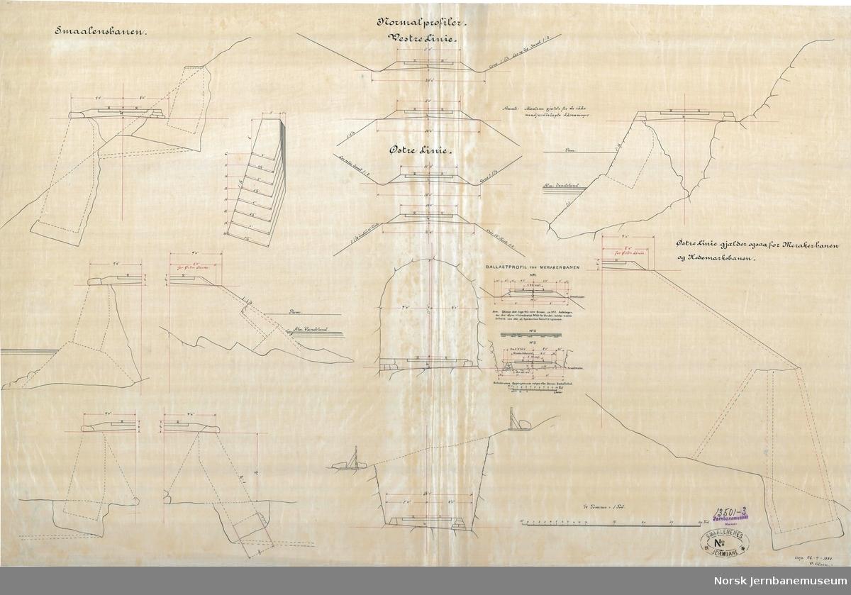 Smaalensbanen. Normalprofiler. Vestre Linie og Østre Linie  Kopi 26.09.1888, O. Olsen