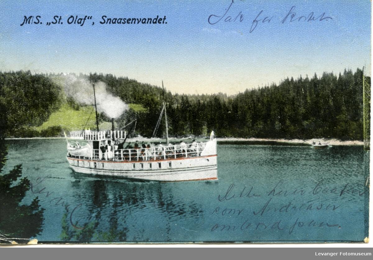 Postkort av passasjerbåten St Olaf.