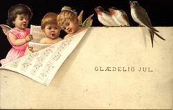 Julekort. Tre engler med noter. Tre fugler. Samme motiv i so