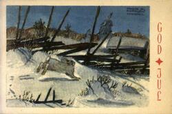 Julekort. Julehilsen. Vintermotiv. Landskap med skigard. I f