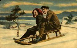 Postkort. Jule- og nyttårshilsen. Kolorert fotografi. Vinter