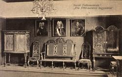 Postkort. Interiør fra 1700-tallets begynnelse. Utstilling N