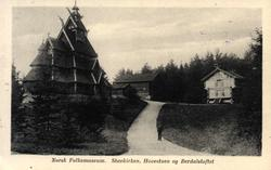 Postkort. Norsk Folkemuseum. Gol Stavkirke, Hovestua, Berdal