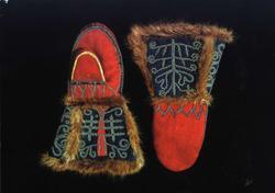 Postkort, Samiske broderte stasvotter fra Selbu, Sør Trøndel