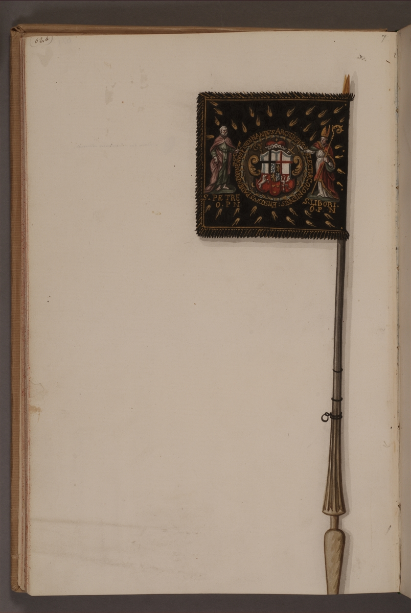 Avbildning föreställande fälttecken taget som trofé av svenska armén. Det avbildade standaret finns bevarat i Armémuseums samling, för mer information, se relaterade objekt.