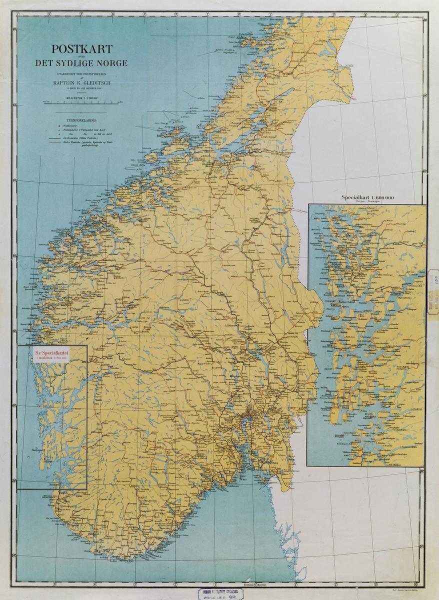 kart, postkart over det sydlige Norge à jour pr. 1ste oktober 1914 i 1:1000000
