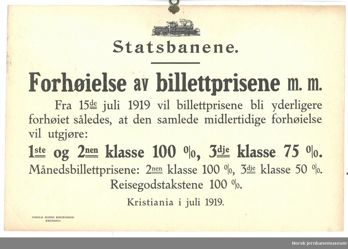 Oppslag: Statsbanene. Forhøielse av billettprisene m.m.
