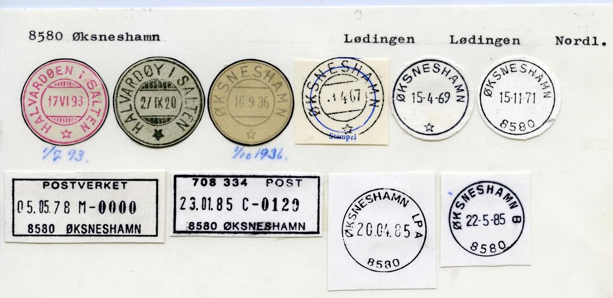 Stempelkatalog 8580 Øksneshamn, Lødingen kommune, Nordland (Halvardøen i Salten 1.7.1893)