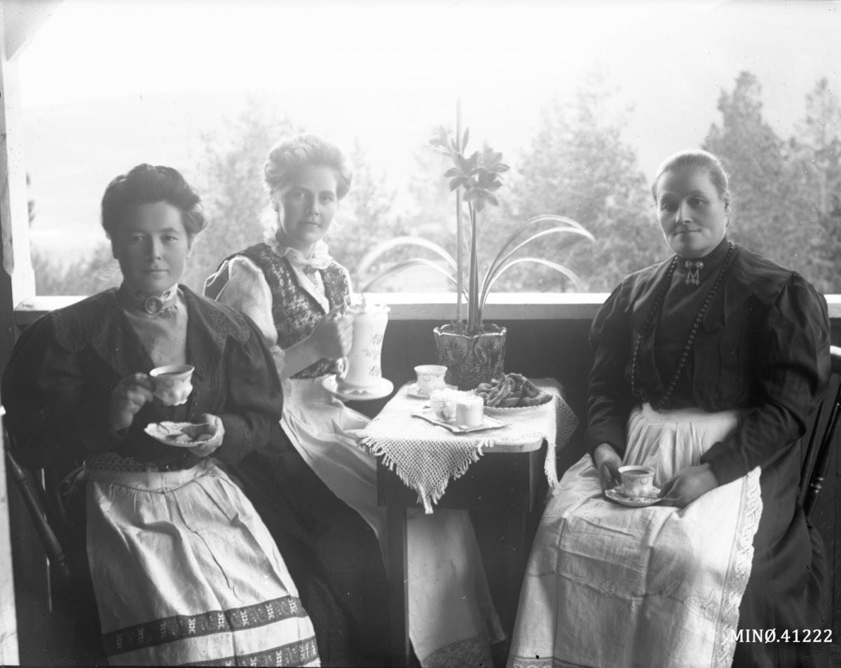 Kaffeselskap. Fra venstre: fru Stuedal (10.4.1886-15.7.1965), fru Leveraas (14.10.1883 Harran i Grong - 11.1.1948), Henriette Karoline Stuedal (født Eilertsen, 18.4.1863-25.4.1925)