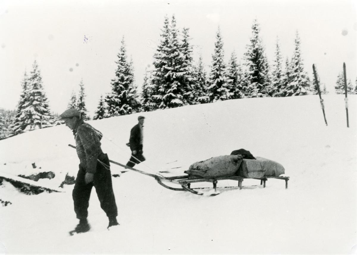Mekkel Lundelien og Erik Skjerstein i Heimefronten. Dei fraktar materiell etter slipp i 1944.