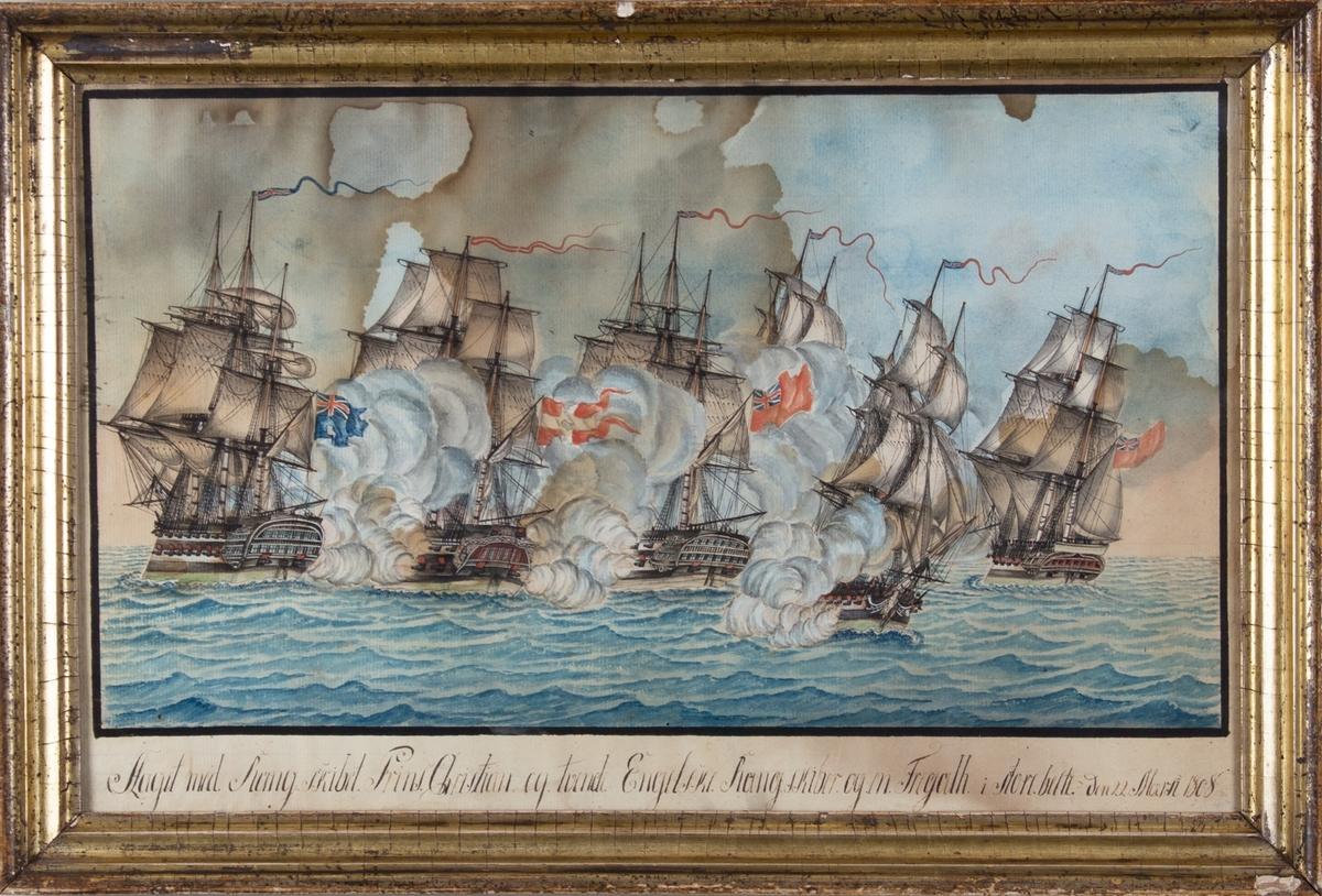 Slaget mellom rangskipet PRINS CHRISTIAN, og fire bristiske skip ved Storebelt 22. mars 1808.