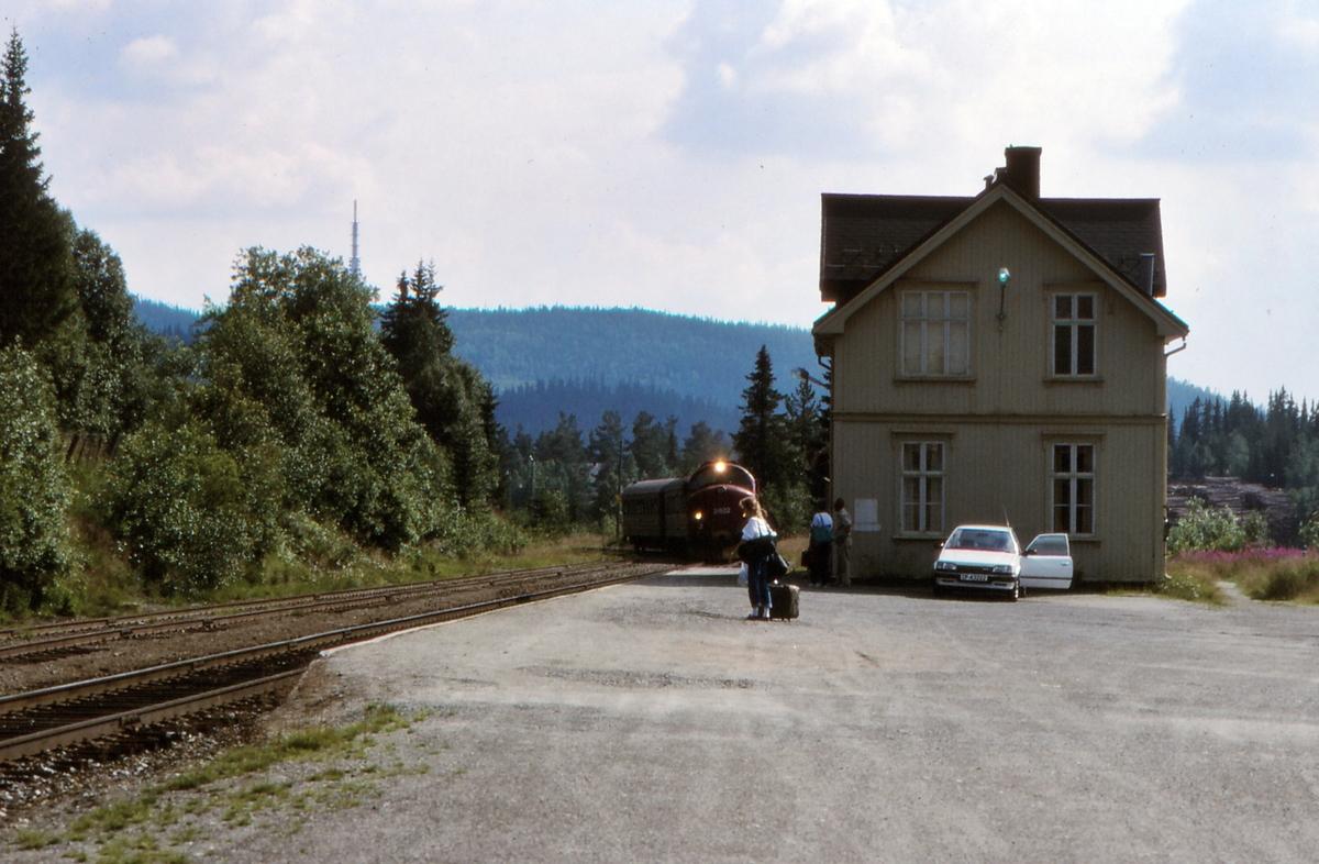 Persontog til Oslo S ankommer Tonsåsen stasjon.