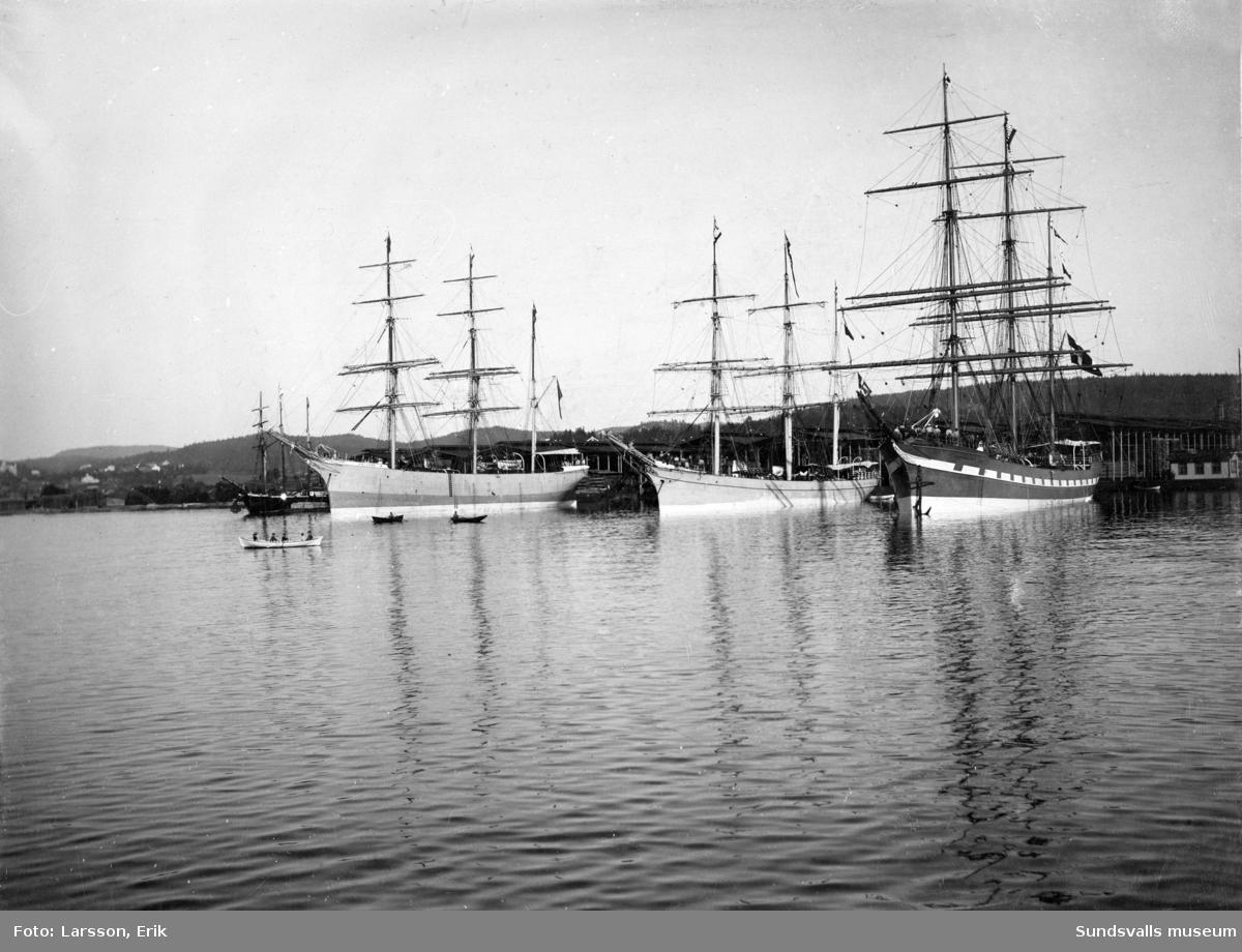 Barkskeppen Halvar av Helsingborg, Alexandra av Kjöbenhavn, Princesse Maria av Nordby, Fanö. Den svenska barken Halvar var den enda stålskutan som köpts ny från utlandet.