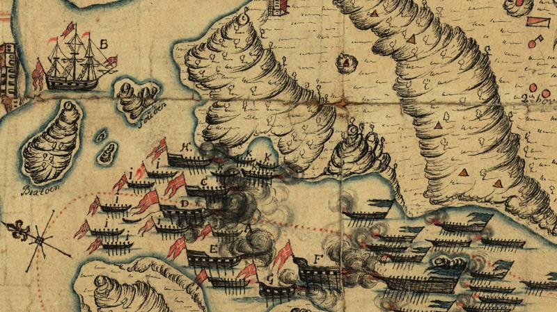 Kart fra 1718 viser et tredvetalls fartøy i sjøslag.