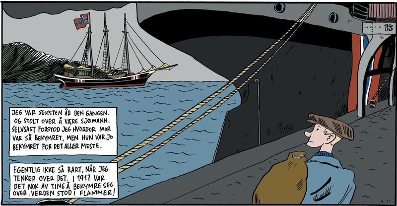 Tegning med sjømann i forgrunnen, bakenden på dampskip, skonnert med tre master og norsk flagg i bakgrunnen. (Foto/Photo)