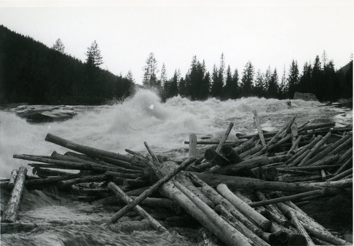 Fløtningen i Muggedøla, 1959. Her stod ei kvern i gamle dagar.