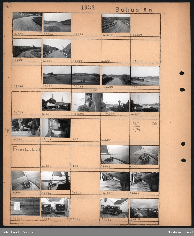 """Motiv: Bohuslän, Fiskebäckskil; Landskapsvy med väg, landskapsvy med en häst som står på en åker, landskapsvy med kyrka och bebyggelse i bakgrunden, en grupp män arbetar med en uppdragen båt, gravstenar på en kyrkogård, hamn med båtar och sjöbodar, en kvinna vid ett hus, vy över bebyggelse och vatten.  Motiv: Bohuslän, Fiskebäckskil; Detalj av segelbåt som seglar, porträtt av en man, skylt på vägg """"All avstjälpning ...."""", två parkerade bilar, vy över bebyggelse."""