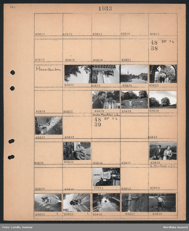 """Motiv: (ingen anteckning) ; Ej kopierat.  Motiv: Hasselbacken; Gatuvy med bebyggelse, fotgängare, porträtt av en man och en kvinna Gösta Nordblad m. fru, en kvinna räfsar en äng, landskapsvy med äng och träd, en man arbetar vid ett staket, skylt """"Ångslupstrafik från Djurgårdsbrunn till Staden ..."""", en båt kör i en kanal, en man slår med lie på en äng."""