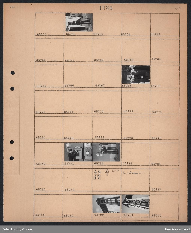 """Motiv: (ingen anteckning) ; En man i uniform med med gevär står framför en vaktkur, två män i uniform står framför en vägg med en skylt """"Touring club Suisse"""", en piccolo pojke i uniform lägger på ett brev på en brevlåda.  Motiv: Lidingö; Exteriör av ett torn."""