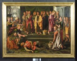 Peter dømmer Ananias og Saffira [Oljemaleri]
