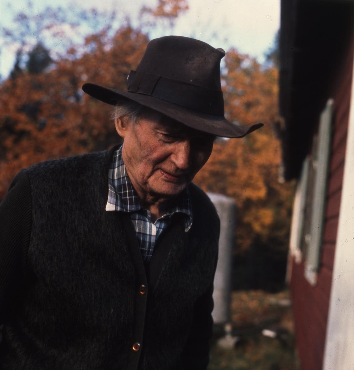 Författaren Albert Viksten utanför sitt torp vid Ängratörn, oktober 1968.