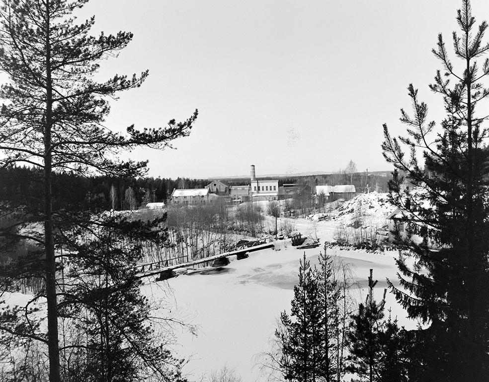 Klevfos Industrimuseum, Ådalsbruk, Løten. Eksteriør, vinter.