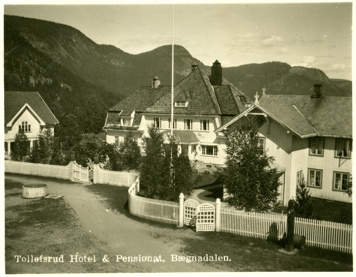 Postkort med motiv av Tollefsrud Hotel & Pensionat, Bægnadalen.