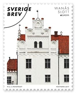 2 frimärken i ett miniark med motiv av och från Wanås slott i Skåne. Valör Brev, 7 kr.