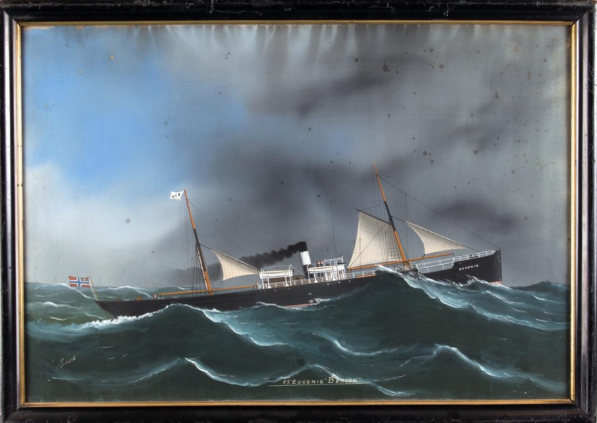 Skipsportrett av DS EUGENIE under fart i åpen sjø med seilføring. Fører unionsflagg akter samt rederivimpel i mast.