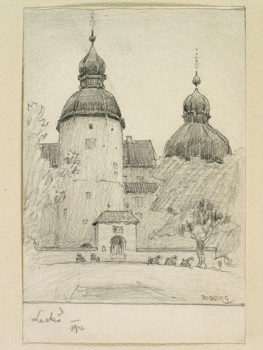 Teckning av Ferdinand Boberg. Västergötland, Kållands hd., Kållandsö sn., Leckö