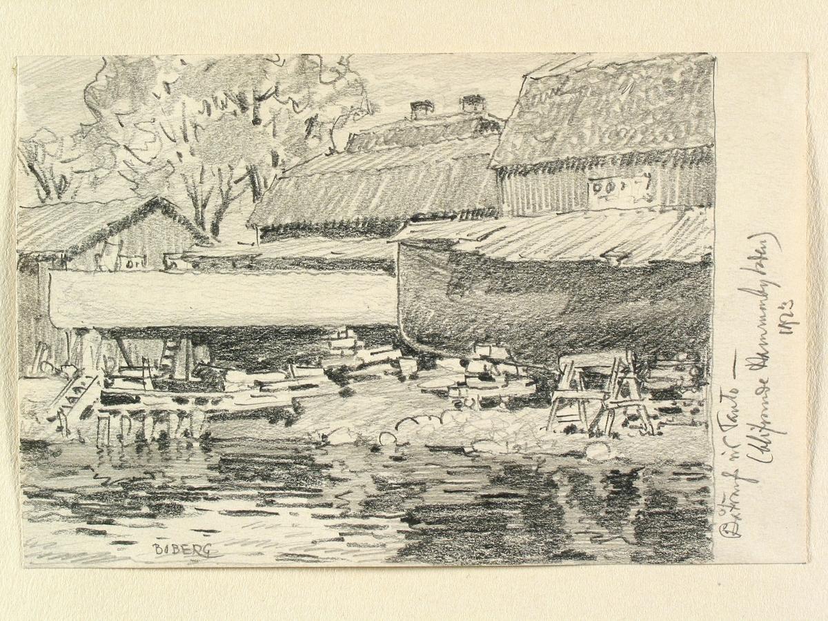 """""""Båtvarf vid Tanto blifvande Hammarbyleden 1923"""" Stockholm, Söder, Teckning av Ferdinand Boberg. Varv."""