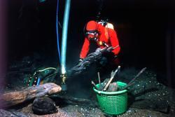 Dykare på botten vid Kronan med skulptur och kollerstock.