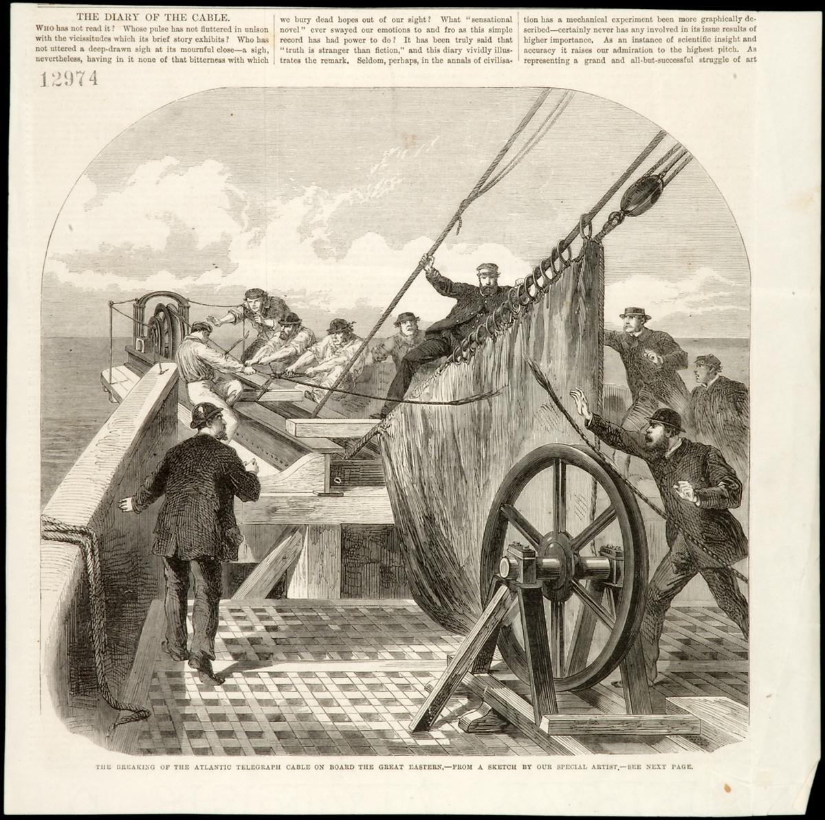 Ombord på kabelfartyget Great Eastern följde en journalist och en tecknare det svåra arbetet att lägga telegrafkabeln. Här är en ögonblicksbild från den 2 augusti 1865 då man upptäckt att kabeln brustit  The Illustrated London News i augusti 1865