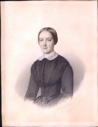 Portrett av ung kvinne. Tegnet av Christian Olsen, Fyn (1813